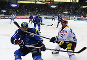 28th September 2017, Saturn Arena, Ingolstadt, Germany; German Hockey League,  ERC Ingolstadt versus Eisbaren Berlin; Sean SULLIVAN (Ingolstadt) and Martin BUCHWIESER (Berlin)