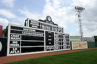 Scoreboard at Rickwood Field, the oldest surviving professional baseball park in the United States, first opening on August 18, 1910, as home for the Birmingham Barons.  Image taken on April 16, 2013 in Birmingham, Alabama.  (Mike Janes/Four Seam Images)