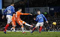 Blackpool's Chris Long shoots under pressure from  Portsmouth's Gareth Evans and Joe Mason<br /> <br /> Photographer Andrew Kearns/CameraSport<br /> <br /> The EFL Sky Bet League One - Portsmouth v Blackpool - Saturday 12th January 2019 - Fratton Park - Portsmouth<br /> <br /> World Copyright © 2019 CameraSport. All rights reserved. 43 Linden Ave. Countesthorpe. Leicester. England. LE8 5PG - Tel: +44 (0) 116 277 4147 - admin@camerasport.com - www.camerasport.com