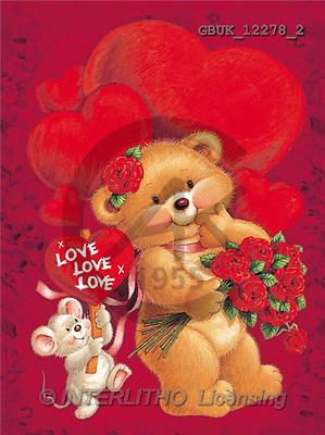 Stephen, VALENTINE, paintings, bear, roses, mouse(GBUK12278/2,#V#) illustrations, pinturas ,everyday