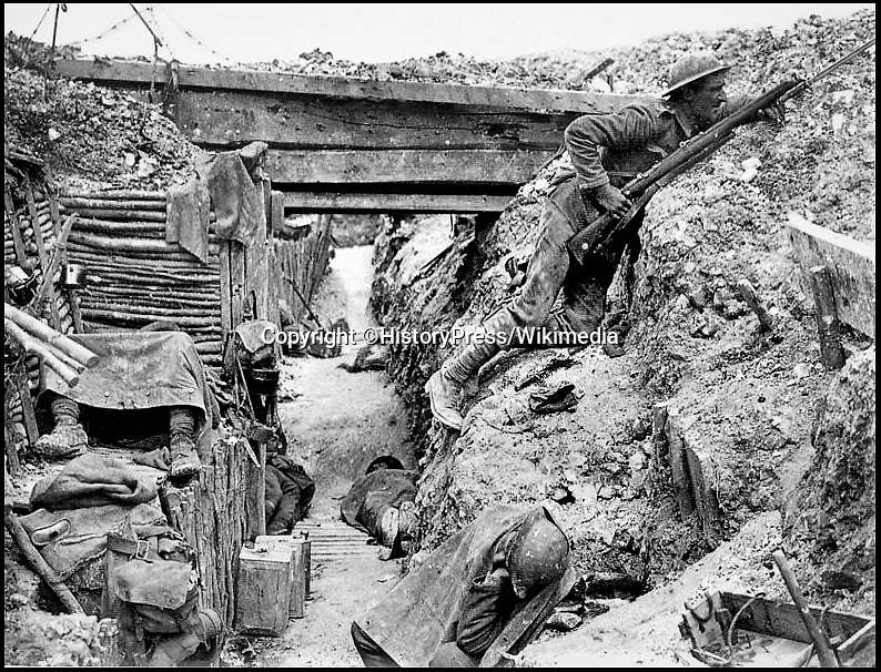 BNPS.co.uk (01202 558833)Pic: HistoryPress/Wikimedia/BNPS<br /> <br /> 'A' Company 11th Battalion, Cheshire in a German trench, 1 July 1916.<br /> <br /> The remarkable story of a humble street which was described by the king as 'the bravest in England' is told in a new book.<br /> <br /> The inhabitants of Chapel Street in Altrincham, Greater Manchester, displayed an unrivalled devotion of duty when Lord Horatio Kitchener made the rallying call for men to enlist in the First World War.<br /> <br /> From the tight-knit community of just 60 houses, a staggering 161 men volunteered - 81 of them on the first day.<br /> <br /> Tragically, however, 29 men from the street were killed in action, more than from any other street in England.