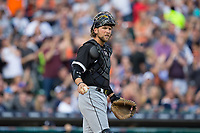 Chicago White Sox catcher Kevan Smith (36) on defense against the Detroit Tigers at Comerica Park on June 2, 2017 in Detroit, Michigan.  The Tigers defeated the White Sox 15-5.  (Brian Westerholt/Four Seam Images)