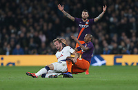 Tottenham Hotspur's Harry Kane is challenged by Manchester City's Fernandinho<br /> <br /> Photographer Rob Newell/CameraSport<br /> <br /> UEFA Champions League Quarter-finals 1st Leg - Tottenham Hotspur v Manchester City - Tuesday 9th April 2019 - White Hart Lane - London<br />  <br /> World Copyright © 2018 CameraSport. All rights reserved. 43 Linden Ave. Countesthorpe. Leicester. England. LE8 5PG - Tel: +44 (0) 116 277 4147 - admin@camerasport.com - www.camerasport.com