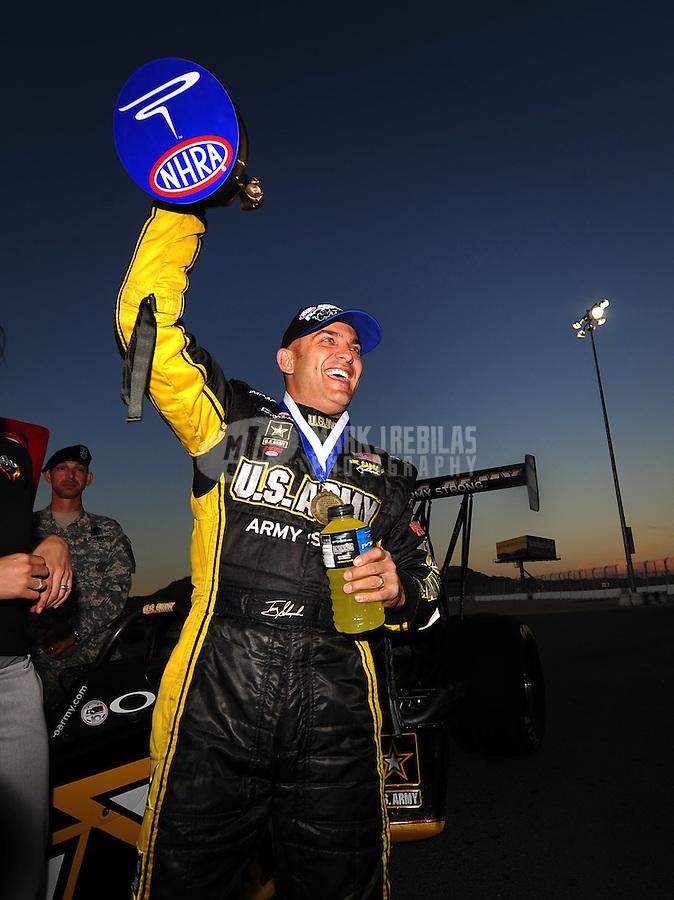 Nov. 2, 2008; Las Vegas, NV, USA: NHRA top fuel dragster driver Tony Schumacher after winning the Las Vegas Nationals at The Strip in Las Vegas. Mandatory Credit: Mark J. Rebilas-