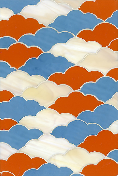 Clouds, a glass waterjet mosaic shown in Stella, Agate and Alexander, is part of the Erin Adams Collection for New Ravenna Mosaics.<br />