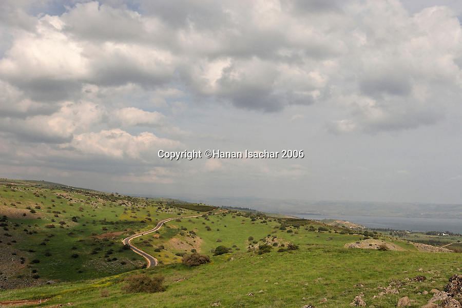 Israel, the Lower Galilee. Road 8077 from Livnim to the Sea of Galilee