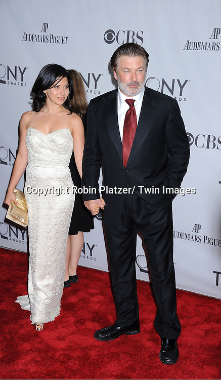 Alec Baldwin and girlfriend Hilaria Thomas  attending the 65th Annual Tony Awards at the Beacon Theatre in New York City on June 12, 2011.