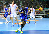 Luc Abalo  shoots on goal during the match against Croatia