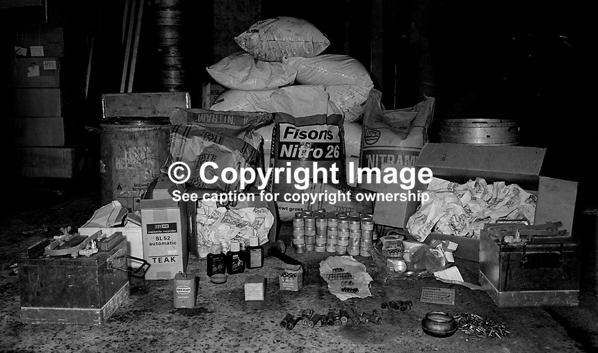Haul of bomb-making chemicals &amp; materials found by security forces in a loyalist area of East Belfast, N Ireland. 12th November 1972. 197211120733<br /> <br /> Copyright Image from Victor Patterson, 54 Dorchester Park, Belfast, UK, BT9 6RJ<br /> <br /> t1: +44 28 9066 1296 (from Rep of Ireland 048 9066 1296)<br /> t2: +44 28 9002 2446 (from Rep of Ireland 048 9002 2446)<br /> m: +44 7802 353836<br /> <br /> e1: victorpatterson@me.com<br /> e2: victorpatterson@gmail.com<br /> <br /> The use of my copyright images is subject to my Terms &amp; Conditions.<br /> <br /> It is IMPORTANT that you familiarise yourself with them. They are available on my website at www.victorpatterson.com.<br /> <br /> None of my copyright images may be used on a website unless they are visibly watermarked, i.e. &copy; Victor Patterson within the body of the visible image. Metadata denoting my copyright must NOT be deleted. <br /> <br /> Web use is extra at currently recommended NUJ rates.