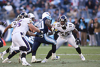 Ravens defensive end Terrell Suggs in action against the Titans at LP Field in Nashville, Tennessee on November 12, 2006. Baltimore won 27-26.