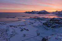 Colorful winter sunrise over Fredvang annd Yttersand beach, Moskenesøy, Lofoten Islands, Norway