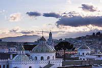 Historic Centre and the spire of the Cathedral of Quito, Old City of Quito, Ecuador, South America