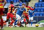 St Johnstone v Partick Thistle....17.10.15  SPFL     McDiarmid Park, Perth<br /> Liam Craig gets between Abdul Osman and David Amoo<br /> Picture by Graeme Hart.<br /> Copyright Perthshire Picture Agency<br /> Tel: 01738 623350  Mobile: 07990 594431