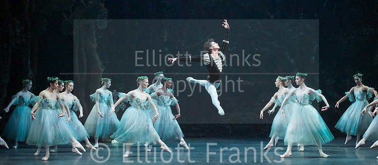 Giselle <br /> English National Ballet at The London Coliseum, London, Great Britain <br /> rehearsal <br /> 10th January 2017 <br /> <br /> <br /> Isaac Hernandez as Albrecht <br /> and the Wilis <br /> <br /> Photograph by Elliott Franks <br /> Image licensed to Elliott Franks Photography Services