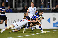 Freddie Burns of Bath Rugby dives for the try-line. Anglo-Welsh Cup match, between Bath Rugby and Leicester Tigers on November 10, 2017 at the Recreation Ground in Bath, England. Photo by: Patrick Khachfe / Onside Images