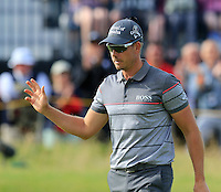 Henrik Stenson (SWE) sinks his putt on the 14th green during Thursday's Round 1 of the 145th Open Championship held at Royal Troon Golf Club, Troon, Ayreshire, Scotland. 14th July 2016.<br /> Picture: Eoin Clarke | Golffile<br /> <br /> <br /> All photos usage must carry mandatory copyright credit (&copy; Golffile | Eoin Clarke)