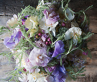 Detail of a flower arrangement made with sweet peas