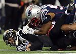 (Foxboro, MA, 01/21/18) Jacksonville Jaguars quarterback Blake Bortles is hit by New England Patriots outside linebacker James Harrison during the fourth quarter of the AFC championship NFL football game at Gillette Stadium on Sunday, January 21, 2018. Photo by Christopher Evans