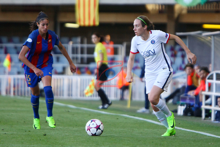UEFA Women's Champions League 2016/2017.<br /> Semifinals.<br /> FC Barcelona vs Paris Saint Germain: 1-3.<br /> Leila Ouahabi vs Sabrina Delannoy.