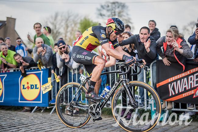 Philippe Gilbert (BEL/Quick Step floors) up the Paterberg 1 last time<br /> <br /> 101th Ronde Van Vlaanderen 2017 (1.UWT)<br /> 1day race: Antwerp &rsaquo; Oudenaarde - BEL (260km)