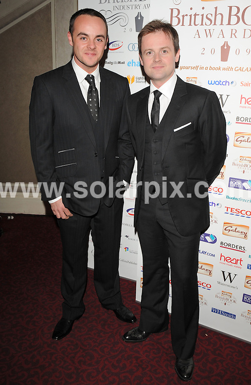 """**ALL ROUND PICTURES FROM SOLARPIX.COM**.**WORLDWIDE SYNDICATION RIGHTS**.Authors and celebrities arrive for the Galaxy British Book Awards or """"Nibbies"""" at the Grosvenor House Hotel in London..This pic:  Ant & Dec.JOB REF:  8765    SSD     DATE:  04.04.09.**MUST CREDIT SOLARPIX.COM OR DOUBLE FEE WILL BE CHARGED**.**ONLINE USAGE FEE GBP 50.00 PER PICTURE - NOTIFICATION OF USAGE TO PHOTO @ SOLARPIX.COM**.**CALL SOLARPIX : +34 952 811 768 or LOW RATE FROM UK 0844 617 7637**"""
