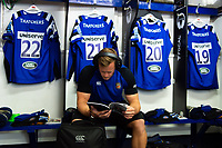 Chris Cook of Bath Rugby reads the matchday programme in the changing rooms. Gallagher Premiership match, between Bath Rugby and Gloucester Rugby on September 8, 2018 at the Recreation Ground in Bath, England. Photo by: Patrick Khachfe / Onside Images