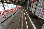 Wrexham 2 Ebbsfleet United 0, 18/11/2017. The Racecourse Ground, National League. The terraced Kop end at The Racecourse Ground. The terrace has been disused for approximately 10 years. The graffiti says 'Chester are shit'. Photo by Paul Thompson.