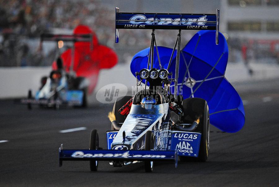 Feb. 19, 2010; Chandler, AZ, USA; NHRA top fuel dragster driver Brandon Bernstein during qualifying for the Arizona Nationals at Firebird International Raceway. Mandatory Credit: Mark J. Rebilas-