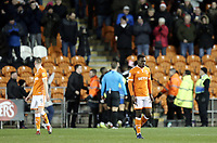 Blackpool's Paudie O'Connor(left) and Donervon Daniels look dejected as Barnsley celebrate Cameron McGeehan's opening goal <br /> <br /> Photographer Rich Linley/CameraSport<br /> <br /> The EFL Sky Bet League One - Blackpool v Barnsley - Saturday 22nd December 2018 - Bloomfield Road - Blackpool<br /> <br /> World Copyright &copy; 2018 CameraSport. All rights reserved. 43 Linden Ave. Countesthorpe. Leicester. England. LE8 5PG - Tel: +44 (0) 116 277 4147 - admin@camerasport.com - www.camerasport.com