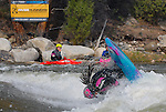 May 30, 2016 - Buena Vista, Colorado, U.S. -  Team Jackson and women's world champion freestyle kayaker, Emily Jackson, completes a forward flip during the CKS Paddlefest, one of the Rocky Mountain Region's first adventure events of the summer in Buena Vista, Colorado.