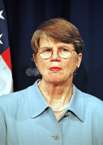 Washington, DC - June 7, 2000 -- Attorney General Janet Reno meets reporters at the Justice Department in Washington Wednesday, June 7, 2000, to discuss the Microsoft ruling.<br /> Credit: Ron Sachs / CNP /MediaPunch