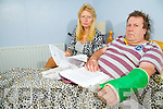 Jan De Meubourg, who has begun a hunger and thirst strike in protest at the delay by the Department of Social Protection in processing his claim, which was lodged in May, pictured with his wife Claire at their home in Baradubh...........................................................................................................