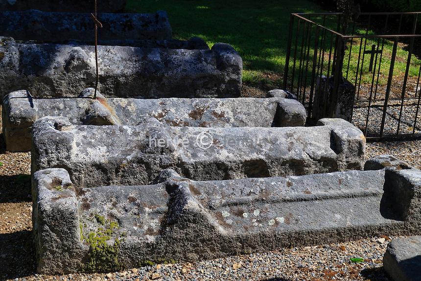 France, Haute-Vienne (87), le Chalard, cimetière des moines, pierres tombales romanes et gothiques // France, Haute Vienne, le Chalard, monks' cemetery