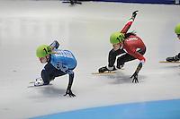 SHORTTRACK: DORDRECHT: Sportboulevard Dordrecht, 24-01-2015, ISU EK Shorttrack, Ekaterina KONSTANTINOVA (RUS | #146), Bernadett HEIDUM (HUN | #124), ©foto Martin de Jong