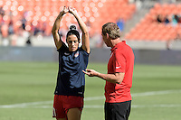 Houston, TX - Sunday Oct. 09, 2016: Ali Krieger, Jim Gabarra prior to the National Women's Soccer League (NWSL) Championship match between the Washington Spirit and the Western New York Flash at BBVA Compass Stadium. The Western New York Flash win 3-2 on penalty kicks after playing to a 2-2 tie.