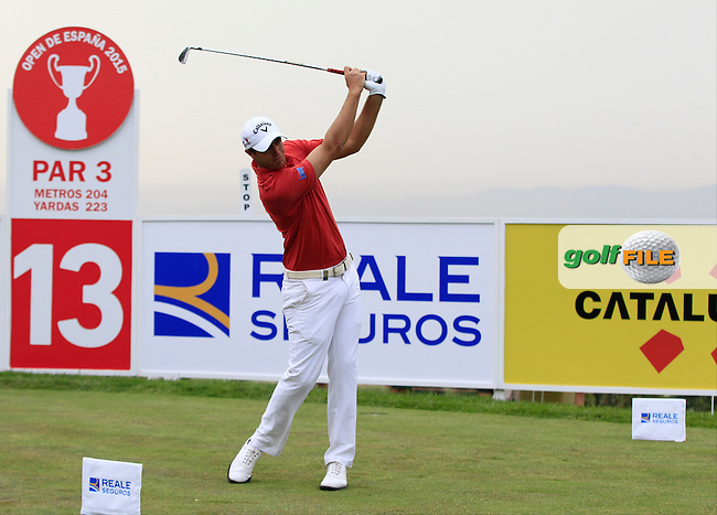 Nicolas Colsaerts (BEL) on the 13th tee during Round 1 of the Open de Espana  in Club de Golf el Prat, Barcelona on Thursday 14th May 2015.<br /> Picture:  Thos Caffrey / www.golffile.ie