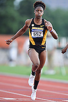 LaQuisha Jackson of Mizzou competes in 100 meter prelims during West Preliminary Track and Field Championships, Friday, May 29, 2015 in Austin, Tex. (Mo Khursheed/TFV Media via AP Images)