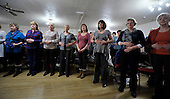 Soundroutes choir rehearsals - Motherwell - limbering up for the music - breathing excercise – picture by Donald MacLeod 13.2.12 www.donald-macleod.com clanmacleod@btinternet.com