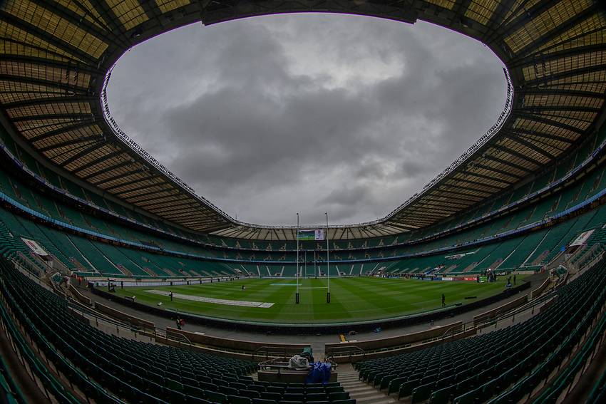 A general view of Twickenham, home of England Rugby<br /> <br /> Photographer Bob Bradford/CameraSport<br /> <br /> Guinness Six Nations Championship - England v France - Sunday 10th February 2019 - Twickenham Stadium - London<br /> <br /> World Copyright © 2019 CameraSport. All rights reserved. 43 Linden Ave. Countesthorpe. Leicester. England. LE8 5PG - Tel: +44 (0) 116 277 4147 - admin@camerasport.com - www.camerasport.com