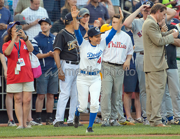 United States Representative Nanette Barragan (Democrat of California) is introduced prior to the 56th Annual Congressional Baseball Game for Charity where the Democrats play the Republicans in a friendly game of baseball at Nationals Park in Washington, DC on Thursday, June 15, 2017. Rep. Barragan will play second base. Photo Credit: Ron Sachs/CNP/AdMedia