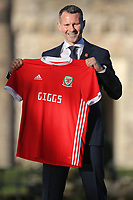 Ryan Giggs holds a Wales shirt during the Wales Unveiling  Of The New Manager at Hensol Castle, Vale of Glamorgan, Wales, UK. Monday 15 January 2018