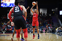 Washington, DC - July 13, 2019: Washington Mystics guard Natasha Cloud (9) pulls up for a jump shot during game between Las Vegas Aces and Washington Mystics at the Entertainment & Sports Arena in Washington, DC. The Aces defeated the Mystics 81-85. (Photo by Phil Peters/Media Images International)