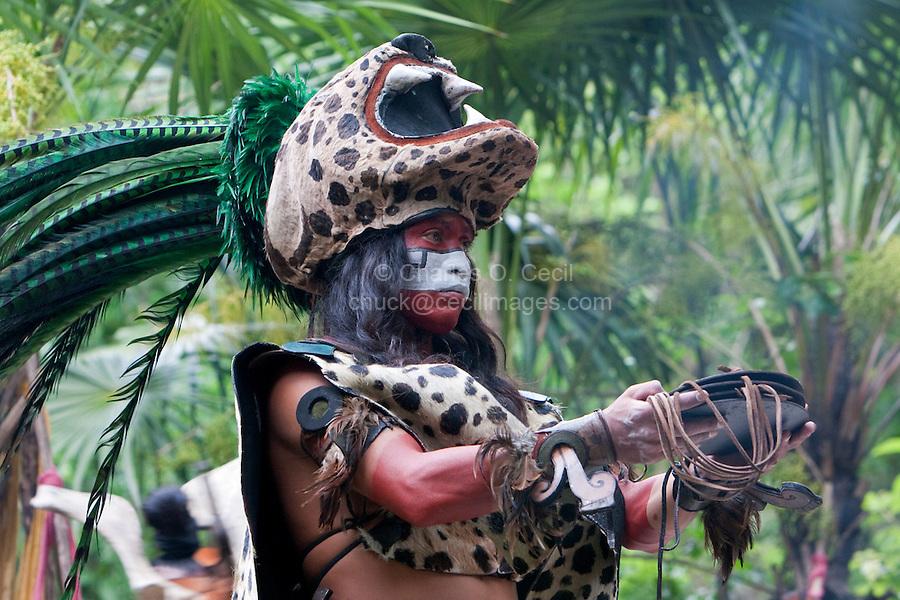 Mayan Dancer Representing Ek Balam (Jaguar), Xcaret, Riviera Maya, Yucatan, Mexico.