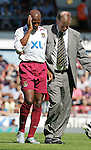 West Ham's Luis Boa Morte goes off injured after getting kicked in the head. .Pic SPORTIMAGE/David Klein