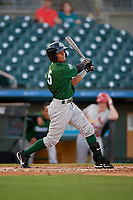 Daytona Tortugas left fielder Lorenzo Cedrola (5) bats during a Florida State League game against the Palm Beach Cardinals on April 11, 2019 at Roger Dean Stadium in Jupiter, Florida.  Palm Beach defeated Daytona 6-0.  (Mike Janes/Four Seam Images)