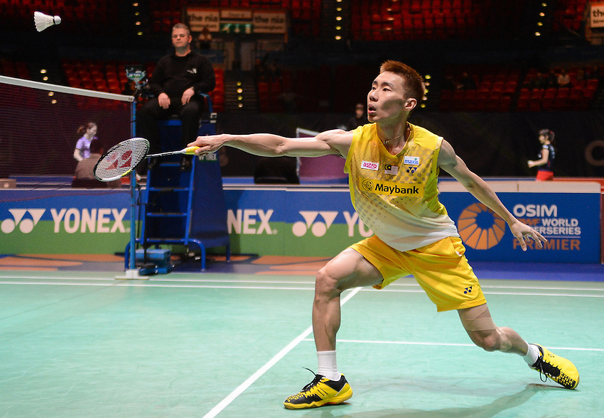Chong Wei Lee (1) (MAS) in action today during his victory over Tien Minh NGUYEN [8] [VIE] in their Men's singles Quarter final match. Chong Wei Lee (1) (MAS) bt Tien Minh NGUYEN [8] [VIE]  21-17 21-19..BWF -  2013 Yonex All England Badminton Championships Super Series Premier - The National Indoor Arena - Birmingham - England - Friday 08th March 2013..© CameraSport - 43 Linden Ave. Countesthorpe. Leicester. England. LE8 5PG - Tel: +44 (0) 116 277 4147 - admin@camerasport.com - www.camerasport.com