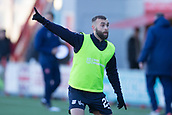 2nd February 2019, Hope CBD Stadium, Hamilton, Scotland; Ladbrokes Premiership football, Hamilton Academical versus Dundee; James Horsfield of Dundee during the warm up before the match