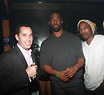 "Michael Sinensky, Justin Tuck and Chris Quick of Joseph Abboud Attend Super Bowl XLVI Champions Mario ""The Catch"" Manningham, Hakeem Nicks, Bear Pascoe  and Justin Tuck Host An Official Giants Parade After Party at Hudson Terrace Presented by Avion Tequila and Pierre-Jouët, NY   2/7/12"