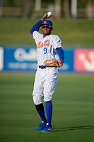 St. Lucie Mets right fielder Hansel Moreno (9) during warmups before a Florida State League game against the Florida Fire Frogs on April 12, 2019 at First Data Field in St. Lucie, Florida.  Florida defeated St. Lucie 10-7.  (Mike Janes/Four Seam Images)