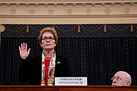 "Marie Yovanovitch, former U.S. Ambassador to Ukraine, listens during a House Intelligence Committee impeachment inquiry hearing in Washington, D.C., U.S., on Friday, Nov. 15, 2019. Yovanovitch testified in private on October 11 that she was called back to Washington after a ""concerted campaign"" by President Trump and his allies, including Rudy Giuliani, according to a transcript released later. <br /> Credit: Andrew Harrer / Pool via CNP/AdMedia"